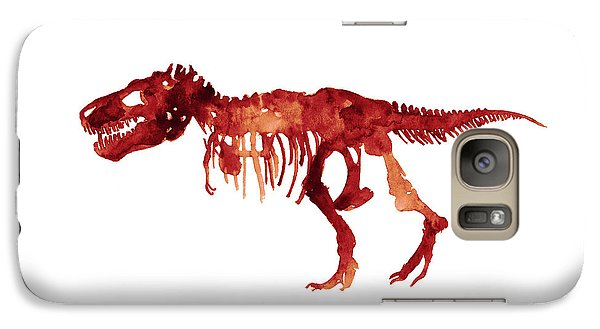 Tyrannosaurus Rex Skeleton Poster, T Rex Watercolor Painting, Red Orange Animal World Art Print Galaxy S7 Case by Joanna Szmerdt