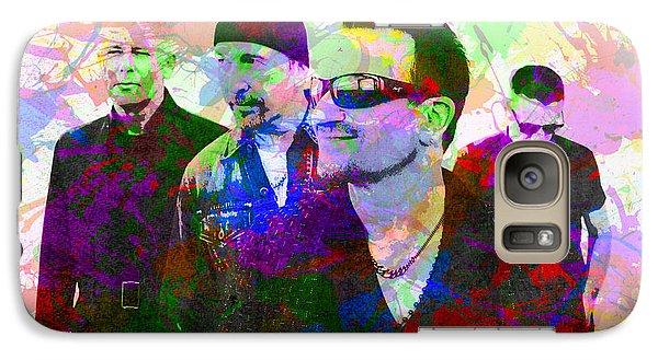 U2 Band Portrait Paint Splatters Pop Art Galaxy S7 Case by Design Turnpike