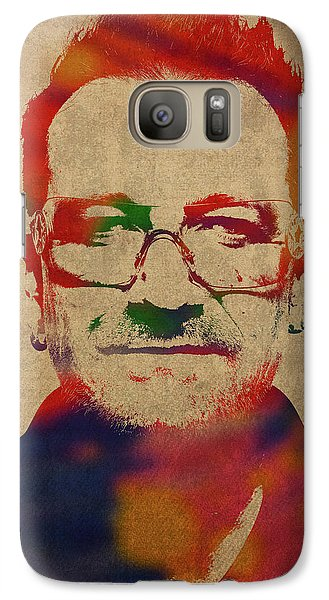 U2 Galaxy S7 Case - U2 Bono Watercolor Portrait by Design Turnpike