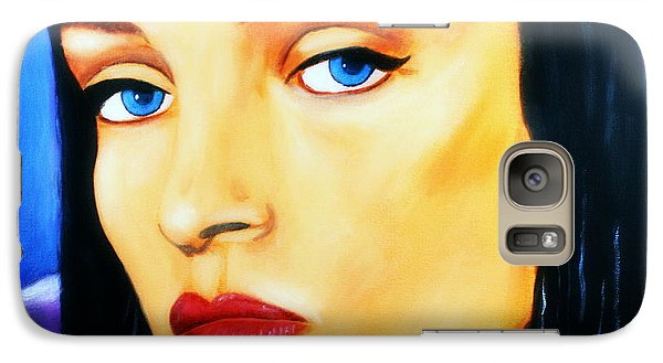Galaxy Case featuring the painting Uma Thurman In Pulp Fiction by Bob Baker