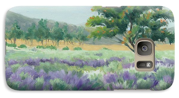 Galaxy Case featuring the painting Under Blue Skies In Lavender Fields by Sandy Fisher