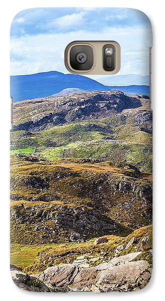 Galaxy Case featuring the photograph Undulating Green, Purple And Yellow Rocky Landscape In  Ireland by Semmick Photo