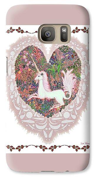 Galaxy Case featuring the digital art Unicorn In A Pink Heart by Lise Winne