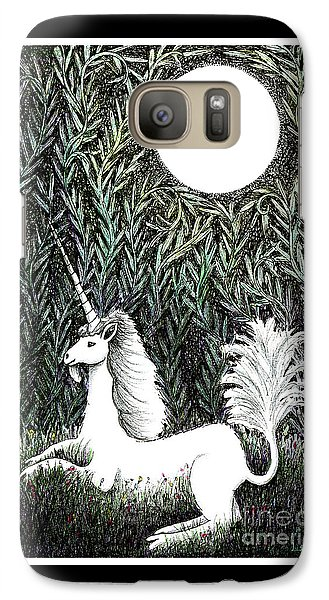 Galaxy Case featuring the drawing Unicorn In Moonlight by Lise Winne