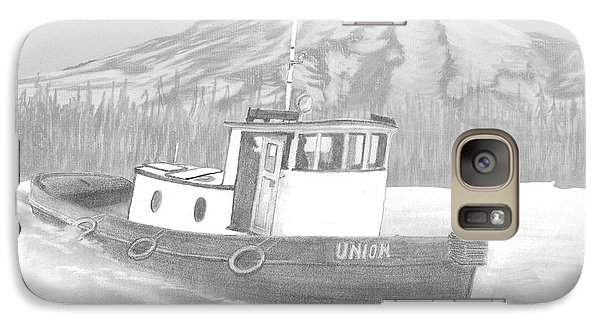 Galaxy Case featuring the drawing Tugboat Union by Terry Frederick