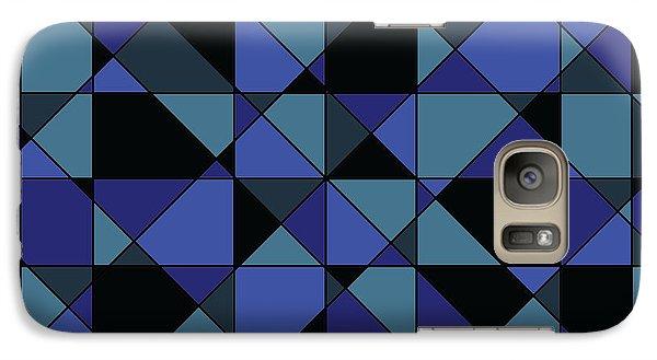 Galaxy Case featuring the digital art Unique Bold Hip Blue Cyan Grey Black Geometric Pattern by Shelley Neff