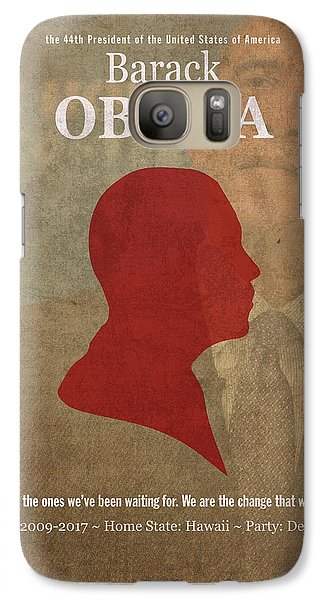United States Of America President Barack Obama Facts Portrait And Quote Poster Series Number 44 Galaxy S7 Case by Design Turnpike
