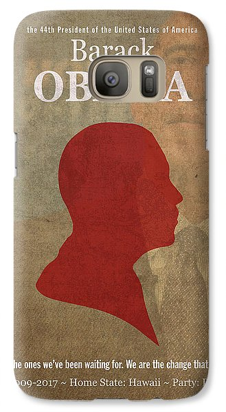 United States Of America President Barack Obama Facts Portrait And Quote Poster Series Number 44 Galaxy Case by Design Turnpike