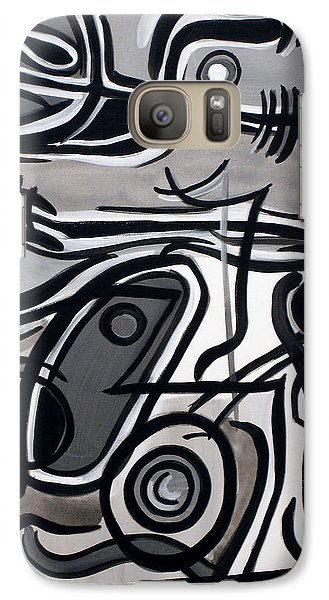 Galaxy Case featuring the painting Untitled Gray by Lynda Lehmann