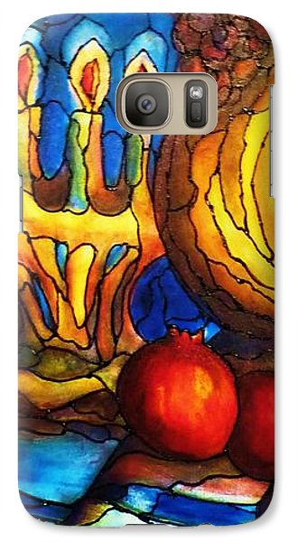 Galaxy Case featuring the painting Still Life With Grapes And Pomegranates by Rae Chichilnitsky