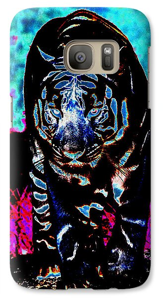 Galaxy Case featuring the photograph Unusual Tiger On The Prowl by Maggy Marsh
