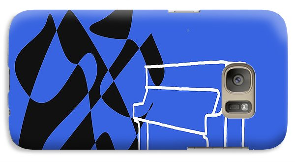 Galaxy Case featuring the digital art Upright Piano In Blue by Jazz DaBri