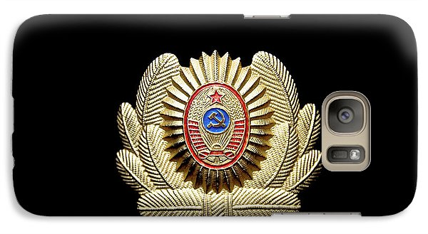 Galaxy Case featuring the photograph Ussr Army Officer Cap Badge by Yurix Sardinelly