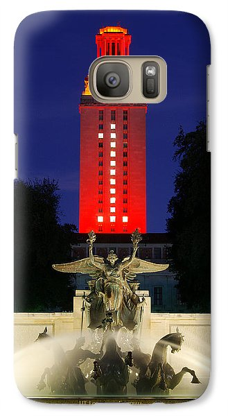 Galaxy Case featuring the photograph Ut Austin Tower Orange by Lisa  Spencer