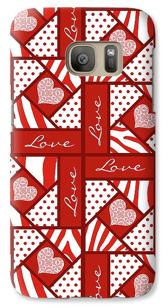 Galaxy Case featuring the digital art Valentine 4 Square Quilt Block by Methune Hively