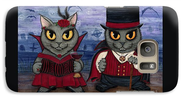 Galaxy Case featuring the painting Vampire Cat Couple by Carrie Hawks