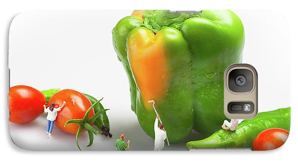 Galaxy Case featuring the painting Vegetable Painting Little People On Food by Paul Ge