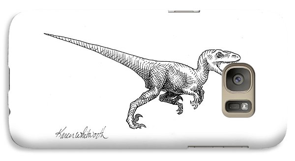 Velociraptor - Dinosaur Black And White Ink Drawing Galaxy S7 Case by Karen Whitworth