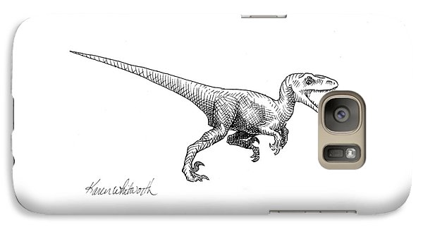 Velociraptor - Dinosaur Black And White Ink Drawing Galaxy Case by Karen Whitworth