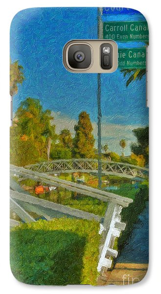 Galaxy Case featuring the photograph Venice Canal Bridge Signs by David Zanzinger