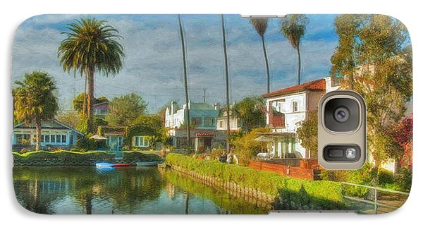 Galaxy Case featuring the photograph Venice Canal Houses Watercolor  by David Zanzinger