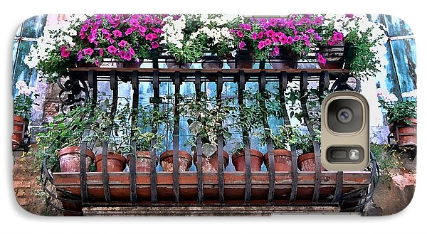 Galaxy Case featuring the photograph Venice Flower Balcony by Allen Beatty