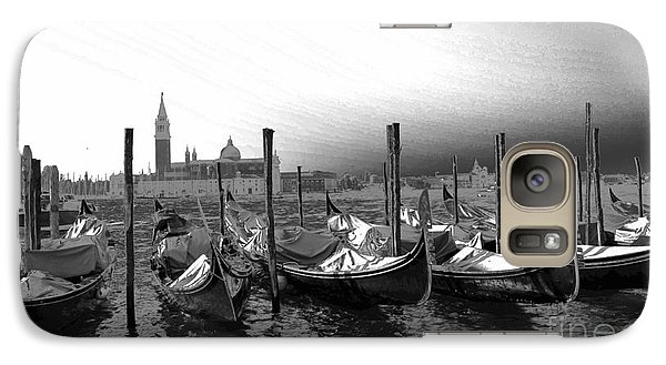 Galaxy Case featuring the photograph Venice Gondolas Black And White by Rebecca Margraf