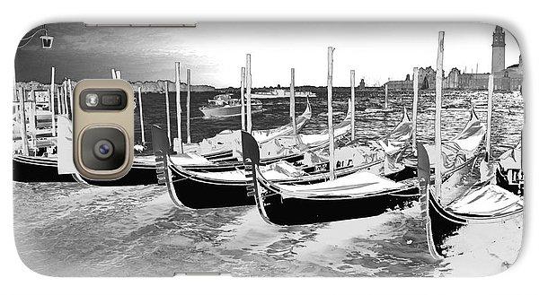 Galaxy Case featuring the photograph Venice Gondolas Silver by Rebecca Margraf