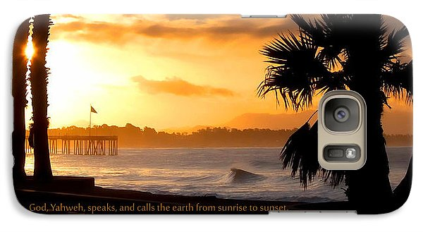 Galaxy Case featuring the photograph Ventura California Sunrise With Bible Verse by John A Rodriguez