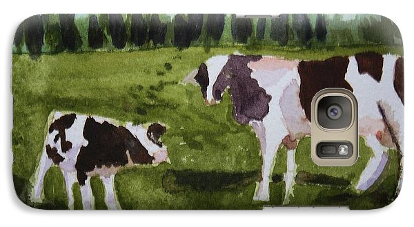 Galaxy Case featuring the painting Vermont Cow And Calf by Donna Walsh