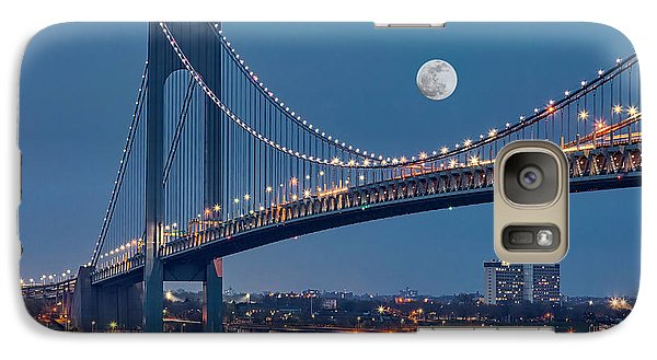 Galaxy Case featuring the photograph Verrazano Narrows Bridge Moon by Susan Candelario
