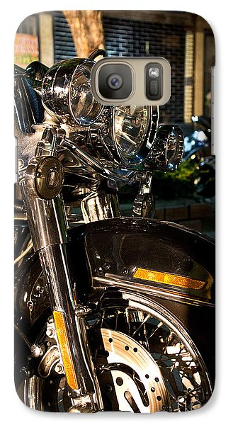 Galaxy Case featuring the photograph Vertical Front View Of Fat Cruiser Motorcycle With Chrome Fork A by Jason Rosette