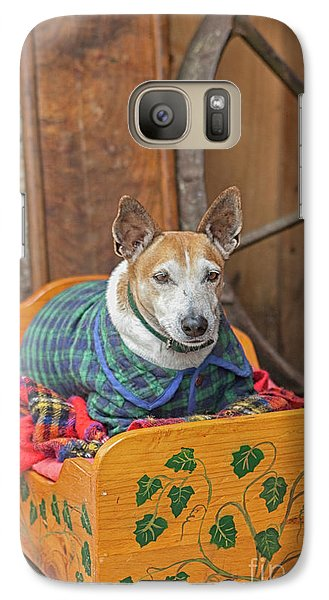 Galaxy Case featuring the photograph Very Old Pet Dog In Clothes On Own Bed by Patricia Hofmeester