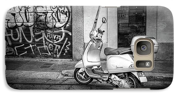 Galaxy Case featuring the photograph Vespa Scooter In Milan Italy In Black And White  by Carol Japp