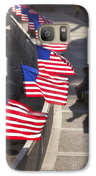 Galaxy Case featuring the photograph Veteran With United States Flags by John A Rodriguez