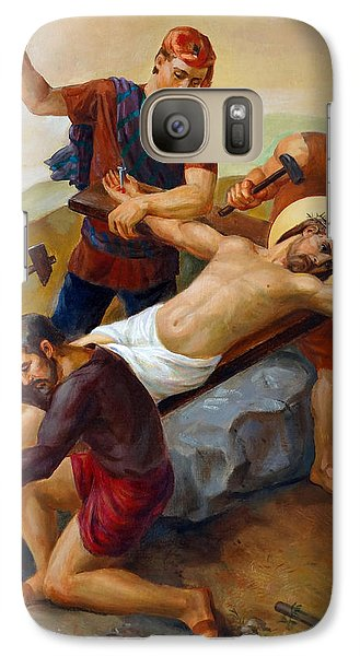 Galaxy Case featuring the painting Via Dolorosa - Jesus Is Nailed To The Cross - 11 by Svitozar Nenyuk