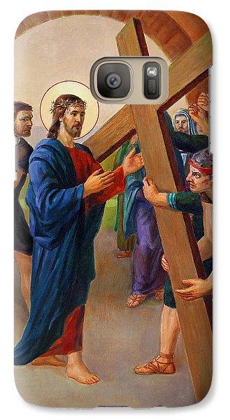 Galaxy Case featuring the painting Via Dolorosa - Jesus Takes Up His Cross - 2 by Svitozar Nenyuk