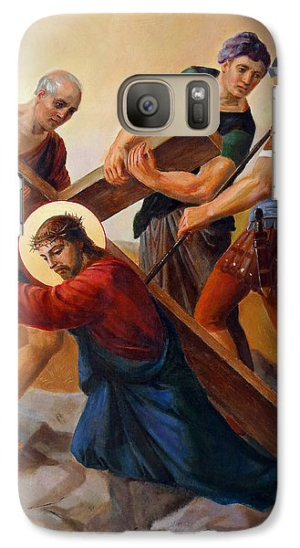 Galaxy Case featuring the painting Via Dolorosa - Stations Of The Cross - 3 by Svitozar Nenyuk