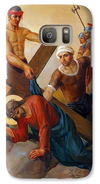 Galaxy Case featuring the painting Via Dolorosa - The Second Fall Of Jesus - 7 by Svitozar Nenyuk
