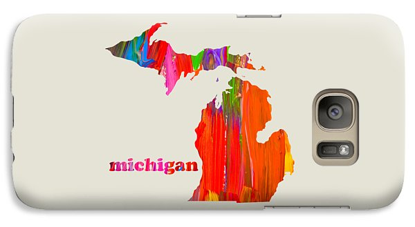 Michigan State Galaxy S7 Case - Vibrant Colorful Michigan State Map Painting by Design Turnpike