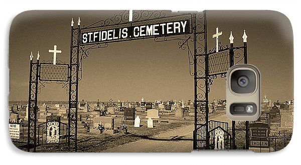 Galaxy Case featuring the photograph Victoria, Kansas - St. Fidelis Cemetery Sepia by Frank Romeo