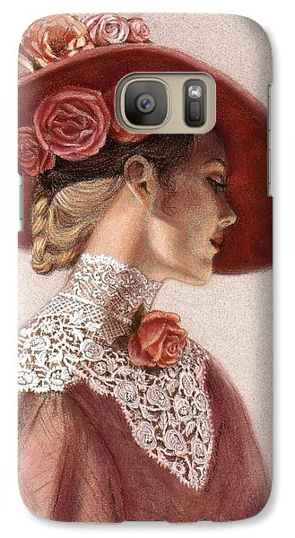 Flowers Galaxy S7 Case - Victorian Lady In A Rose Hat by Sue Halstenberg