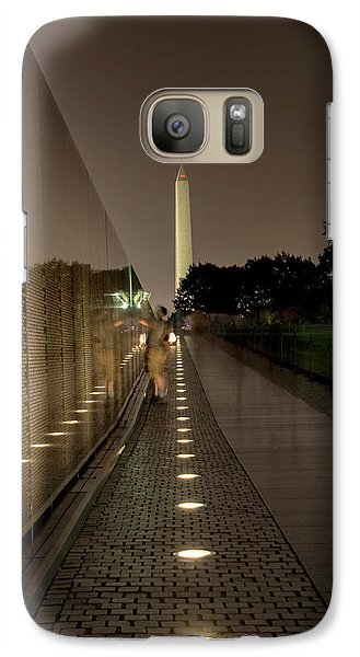 Galaxy Case featuring the photograph Vietnam Veterans Memorial At Night by Chrystal Mimbs