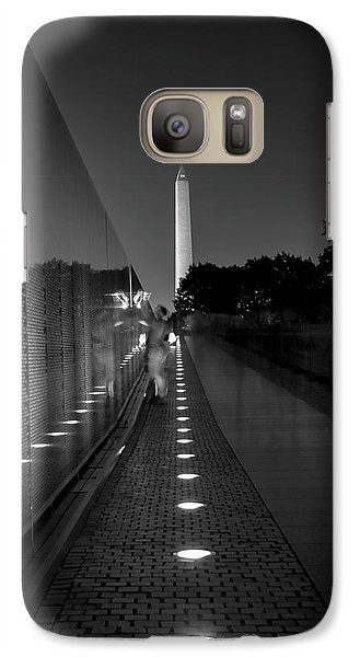 Galaxy Case featuring the photograph Vietnam Veterans Memorial At Night In Black And White by Chrystal Mimbs