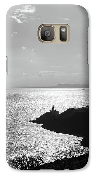 Galaxy Case featuring the photograph View Of Howth Head With The Baily Lighthouse In Black And White by Semmick Photo