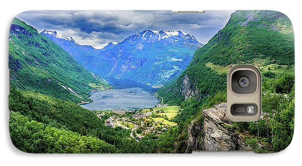 Galaxy Case featuring the photograph View On Geiranger From Flydalsjuvet by Dmytro Korol