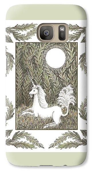Galaxy Case featuring the drawing Vigilant Unicorn by Lise Winne