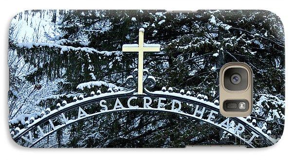 Galaxy Case featuring the photograph Villa Sacred Heart Winter Retreat Golden Cross by John Stephens