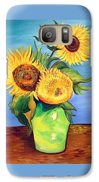 Galaxy Case featuring the painting Vincent's Sunflowers by Patricia Piffath