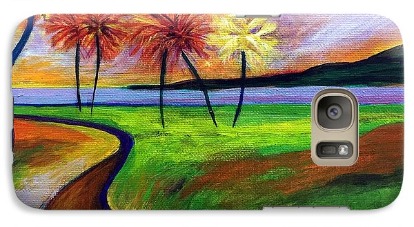 Galaxy Case featuring the painting Vinoy Park In Purple by Elizabeth Fontaine-Barr